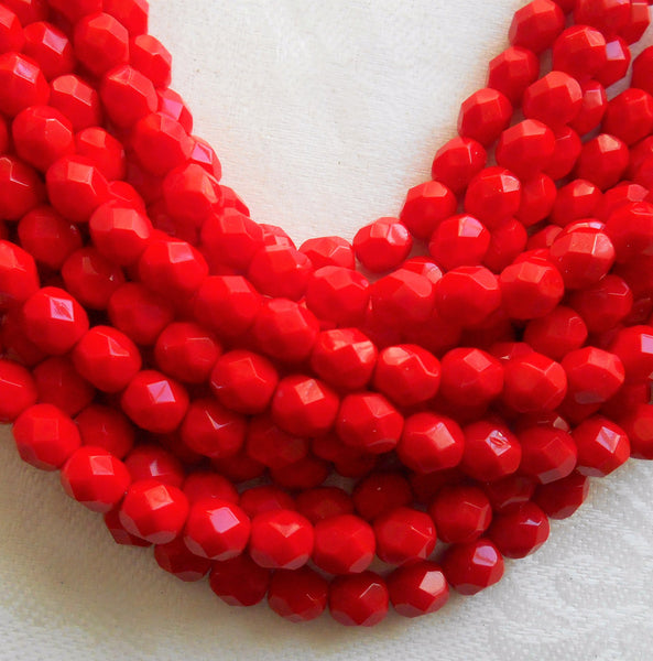 Lot of 25 6mm Czech Opaque Bright Red Czech glass beads, round, faceted, firepolished glass beads C1355 - Glorious Glass Beads