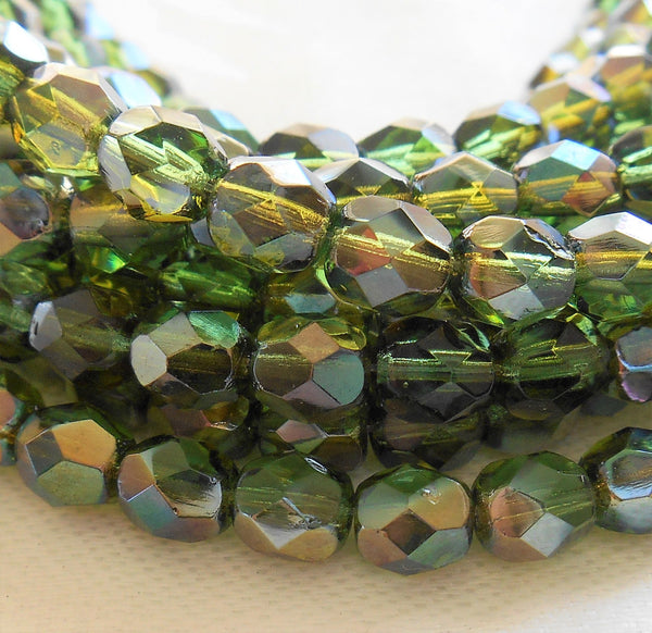 Lot of 25 6mm Prairie Green Celsian Czech glass beads, round faceted firepolished beads, C7425