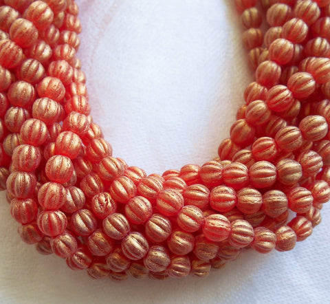 Fifty 5mm Sueded Gold Ruby Red Czech glass melon beads, red gold coated glass beads C33101
