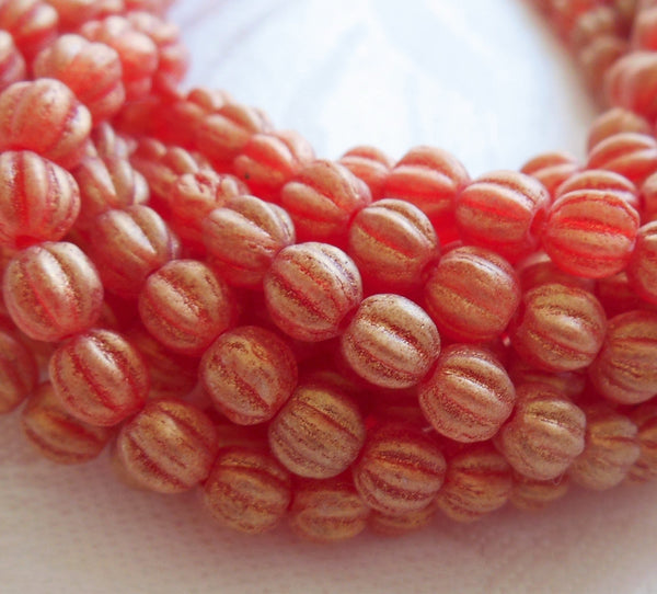 Fifty 5mm Sueded Gold Ruby Red Czech glass melon beads, red gold coated glass beads C33101 - Glorious Glass Beads