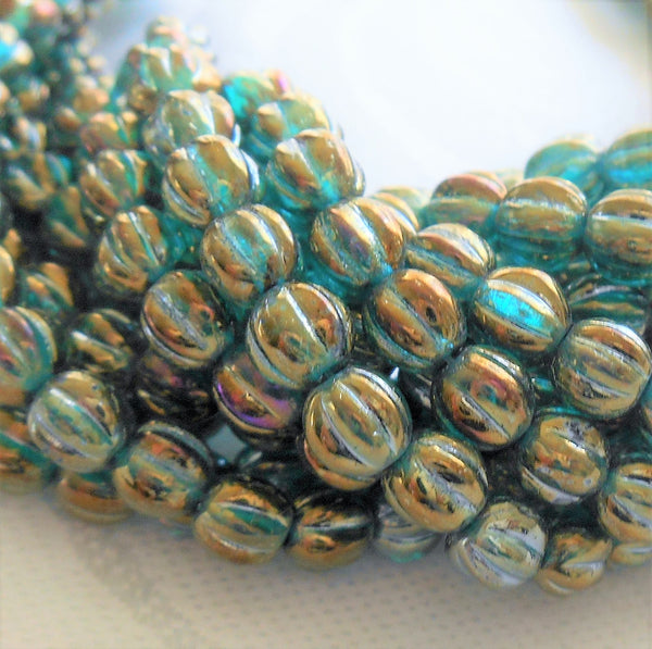 Fifty 5mm Luster Iris Atlantis Blue, teal and gold melon beads, Pressed Czech glass beads C3750 - Glorious Glass Beads