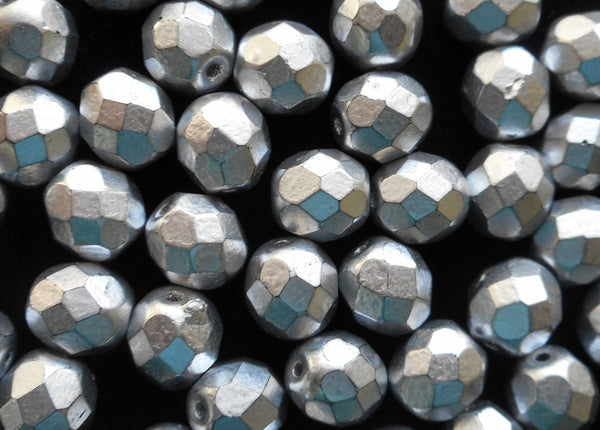 Lot of 25 8mm Matte Silver Czech glass beads, firepolished, faceted round beads, C6525
