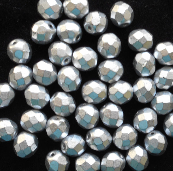 Lot of 25 8mm Matte Silver Czech glass beads, firepolished, faceted round beads, C6525 - Glorious Glass Beads
