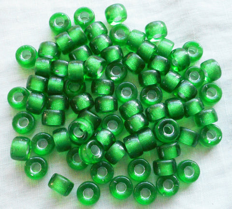 Lot of 25 9mm Czech Emerald green silver lined Czech glass pony roller beads, large hole crow beads, C6625 - Glorious Glass Beads