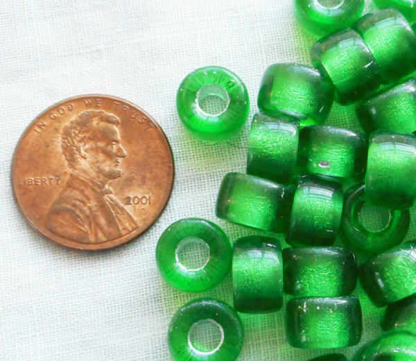Lot of 25 9mm Czech Emerald green silver lined Czech glass pony roller beads, large hole crow beads, C6625
