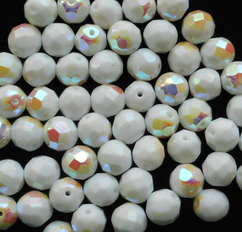 Lot of 25 8mm Czech glass beads, Opaque White AB firepolished, faceted round beads C40125 - Glorious Glass Beads