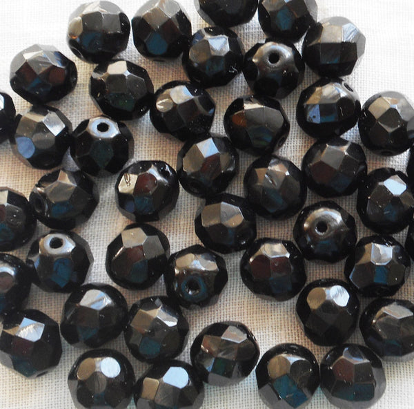 Lot of 25 8mm Jet black Czech glass beads, firepolished faceted, round beads C4525 - Glorious Glass Beads