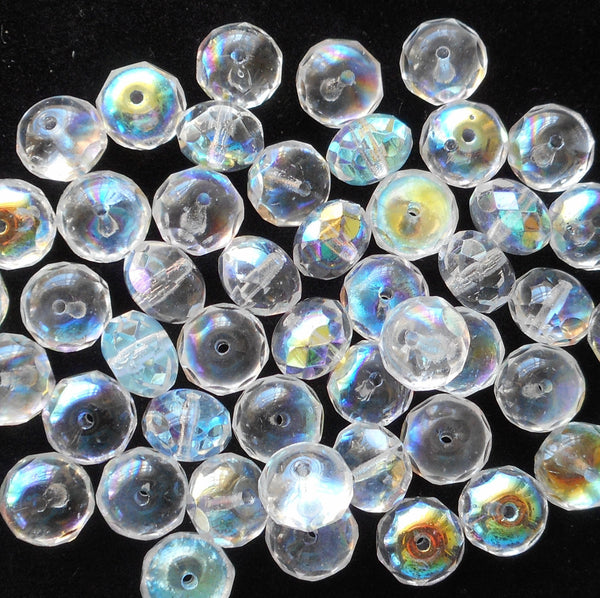 Lot of 25 6 x 9mm Crystal AB faceted puffy rondelle beads, Czech glass rondelles C3825 - Glorious Glass Beads