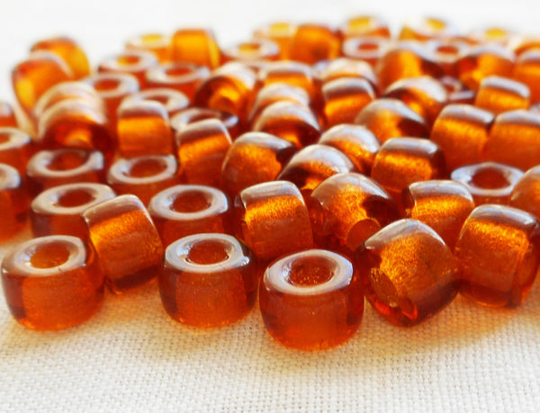 lot of 50 6mm Czech Madera Topaz glass pony roller beads, large hole crow beads, C5350