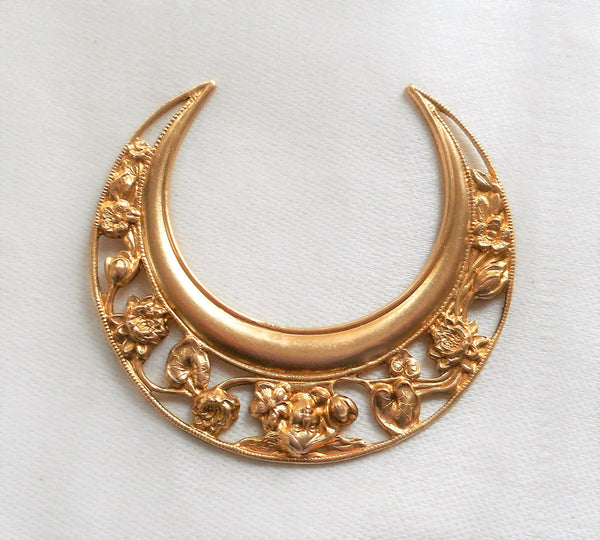One large raw brass stamping, ornate, filigree, floral crescent moon, Victorian pendant, charm, 63mm x 20mm, USA made 02101