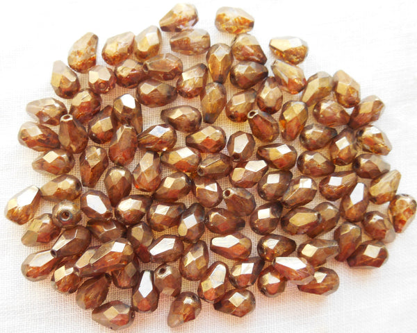 Lot of 25 7 x 5mm Lumi Brown teardrop Czech glass beads, faceted firepolished beads C5901