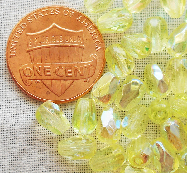 Lot of 25 7 x 5mm Jonquil, Yellow AB teardrop Czech glass beads, faceted firepolished beads C2801 - Glorious Glass Beads