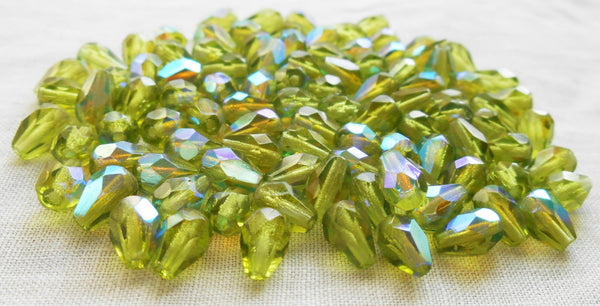 Lot of 25 7 x 5mm Olivine Green AB teardrop Czech glass beads, faceted firepolished beads C5501