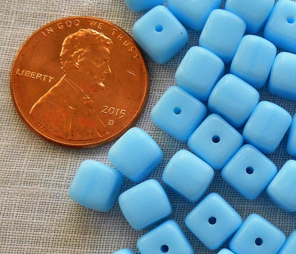 Lot of 25 Opaque Turquoise Blue Cube Beads, 5 x 7mm Czech glass beads, C6225 - Glorious Glass Beads