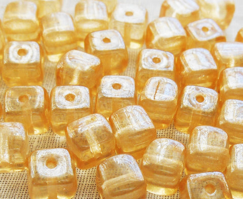 Lot of 25 Crystal Champagne Cube Beads, 5 x 7mm Czech glass beads, C6225 - Glorious Glass Beads