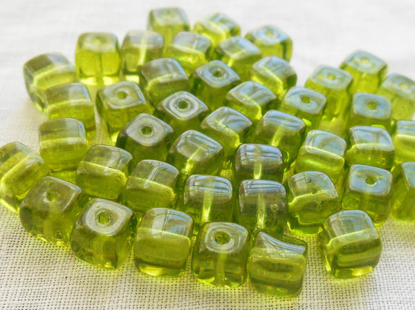 Lot of 25 Olivine Green Cube Beads, 5 x 7mm Czech glass beads, C4225 - Glorious Glass Beads