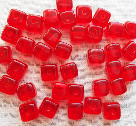 Lot of 25 Siam Red Cube Beads, 5 x 7mm Czech glass beads, C1425 - Glorious Glass Beads