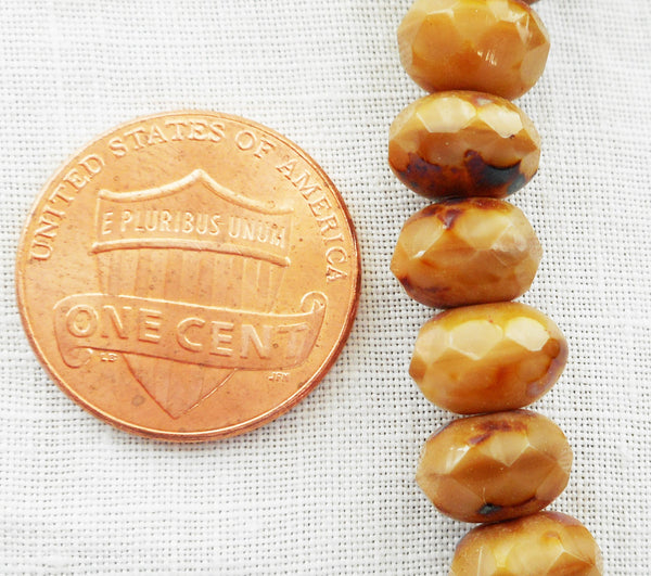 Lot of 25 6 x 9mm Czech opaque brown or beige picasso faceted puffy rondelle beads, Czech glass rondelles 47101