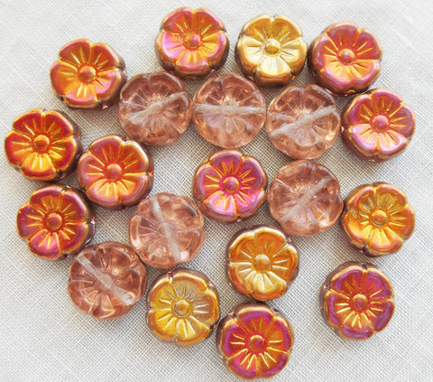 Lot of 10 12mm yellow, peach, orange and pink iridescent sunset maple Czech glass flower beads, pressed glass Hawaiian flower beads, C1901