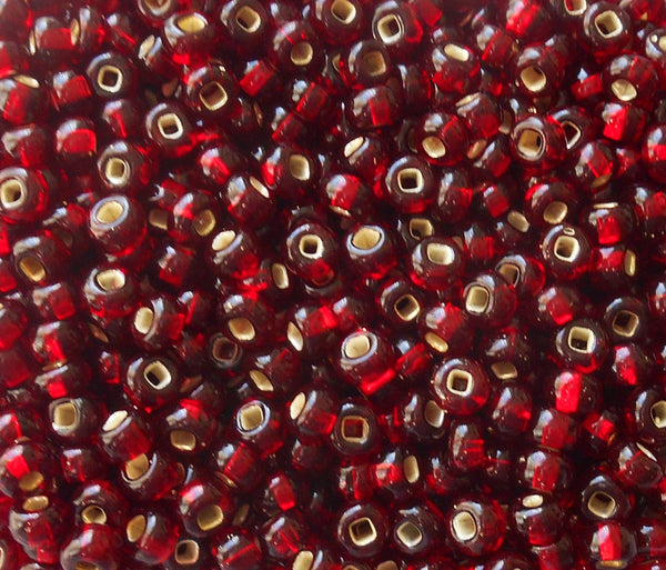 Pkg of 24 grams Garnet Red Silver Lined Czech 6/0 large glass seed beads, size 6 Preciosa Rocaille 4mm spacer beads, large, big hole C9524