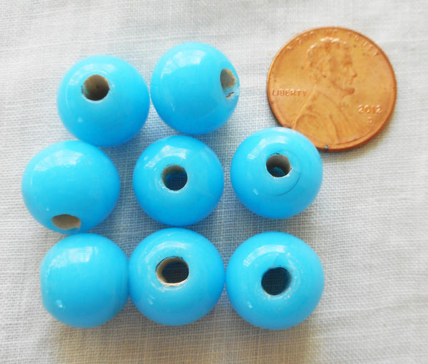 Ten 12mm Bright Opaque Turquoise Blue glass beads, large hole big hole crow beads, Made in India, C3501
