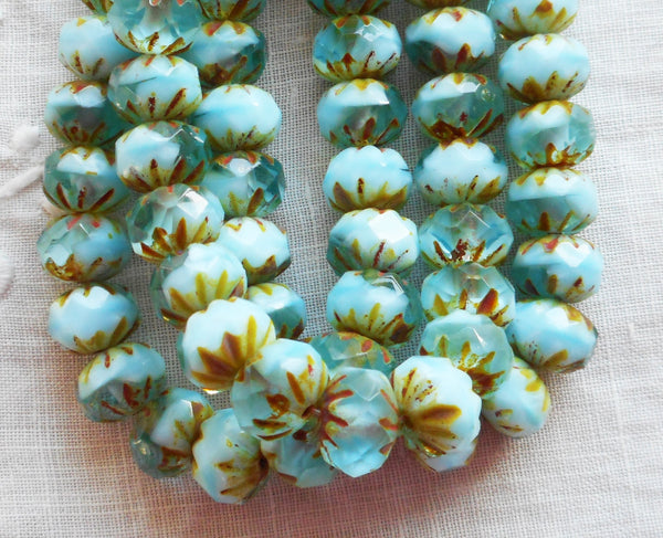 Lot of 25 6 x 9mm Czech opaque and transparent glacier blue picasso faceted carved cruller beads, Czech glass rondelles 08301