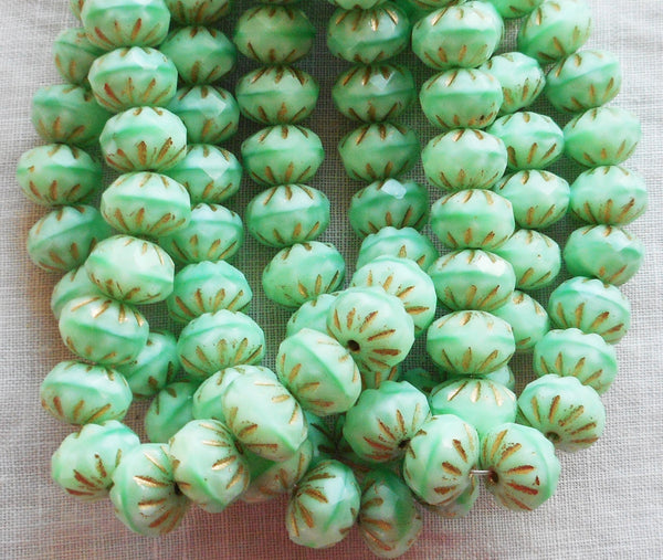 Lot of 25 6 x 9mm Czech opaque mint green with gold accents, faceted carved cruller beads, Czech glass rondelles 08301 - Glorious Glass Beads