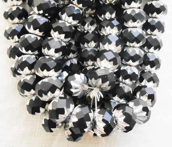 Lot of 25 6 x 9mm opaque black and silver picasso Czech glass faceted cruller beads C58201 - Glorious Glass Beads