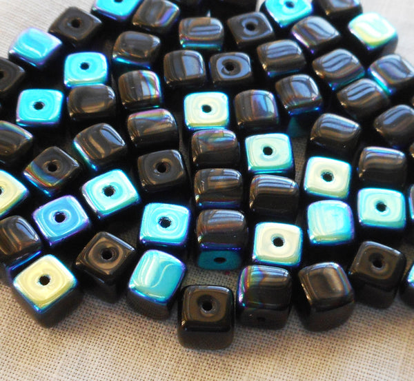 Lot of 25 Jet Black AB Cube Beads, 5 x 7mm Czech glass beads, C8125 - Glorious Glass Beads