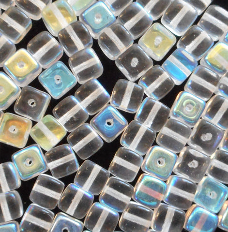 Lot of 25 Crystal AB Cube Beads, 5 x 7mm Czech glass beads, C6225 - Glorious Glass Beads