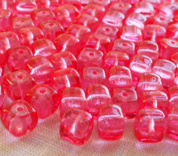 Lot of 25 Bright Pink Cube Beads, 5 x 7mm New Rose Czech glass beads, C8325 - Glorious Glass Beads