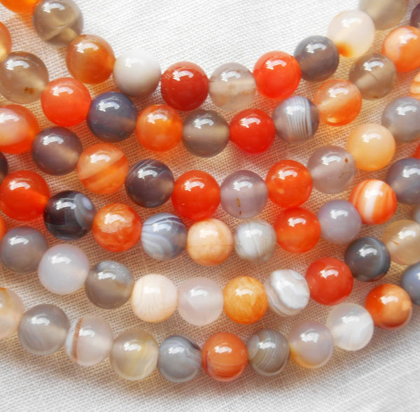 One 15 inch strand (68 - 70 6mm beads) orange, white and gray Botswana Agate druks, high quality semiprecious gemstone beads 00301