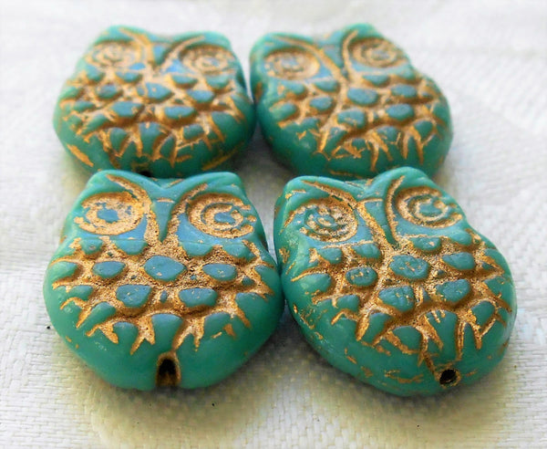 Four large turquoise blue & gold Czech glass owl beads, opaque turquoise blue glass with a gold wash, focal beads, 18mm x 15mm C00101