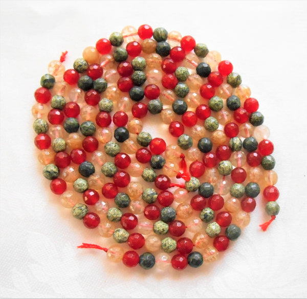 One 14+ inch strand (61 beads) 6mm red, green and amber faceted agate beads, semiprecious gemstone beads 00101