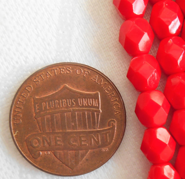 Lot of 25 6mm Czech Opaque Bright Red Czech glass beads, round, faceted, firepolished glass beads C1355