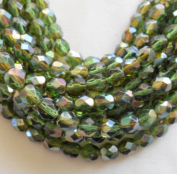 Lot of 25 6mm Prairie Green Celsian Czech glass beads, round faceted firepolished beads, C7425 - Glorious Glass Beads