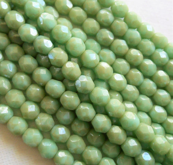 Lot of 25 6mm opaque Pale Turquoise Green Star Dust Czech glass beads, firepolished, faceted round beads, C9525