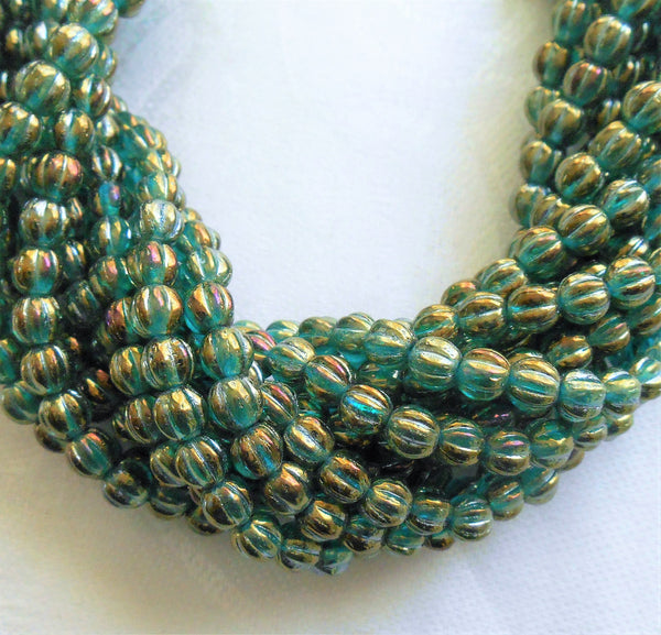 Fifty 5mm Luster Iris Atlantis Blue, teal and gold melon beads, Pressed Czech glass beads C3750