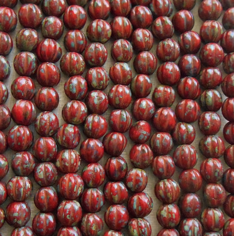 Fifty 5mm Opaque Red Picasso Czech glass melon beads C1701 - Glorious Glass Beads