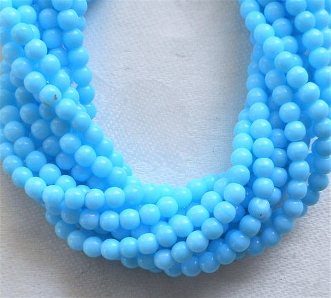 Lot of 100 4mm Opaque Baby Blue glass Czech druk beads, light turquoise blue smooth round druks, C7801 - Glorious Glass Beads