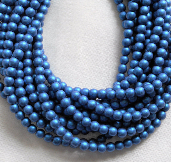 Lot of 100 4mm opaque blue glass Czech druk beads, matte metallic suede, sueded blue smooth round druks, C1801 - Glorious Glass Beads