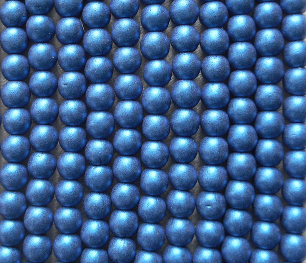 Lot of 100 4mm opaque blue glass Czech druk beads, matte metallic suede, sueded blue smooth round druks, C1801