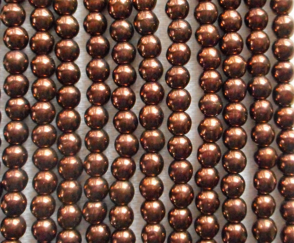 Lot of 100 4mm metallic Dark Bronze Czech glass druk beads, brown smooth round druks, C40101 - Glorious Glass Beads