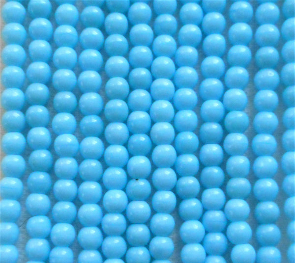 Lot of 100 4mm Opaque Baby Blue glass Czech druk beads, light turquoise blue smooth round druks, C3801