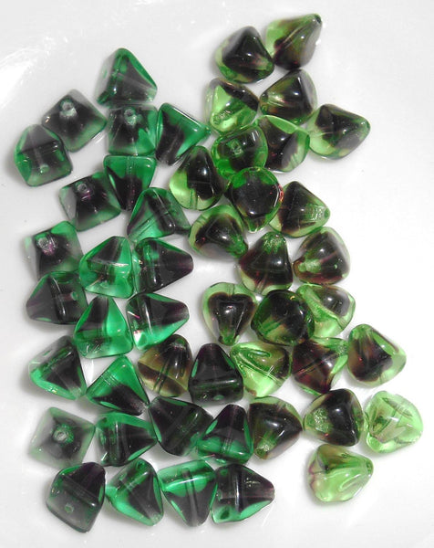 Lot of 49 Czech glass beads green and purple, amethyst color mix, pyramids and pebbles