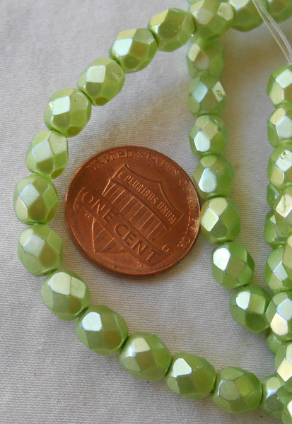 30 6mm Czech glass beads, Pistachio Pearl, Light Green Satin, firepolished, faceted round beads C5830 - Glorious Glass Beads