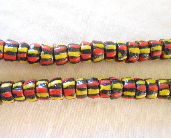 Lot of 124 African Trade Beads made in Ghana, brown beads with yellow and orange stripes, 000101