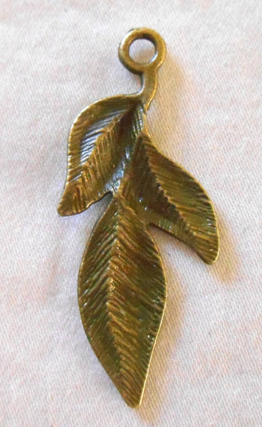 Two antique bronze leaf charms, pendants, 39m by 11mm , three metal leaves C6102 - Glorious Glass Beads