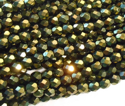 Lot of 25 6mm Metallic olive Green Czech glass firepolished, faceted round beads, C1725
