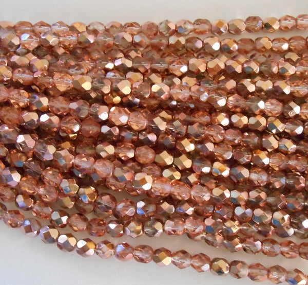 Lot of 25 6mm Apollo Gold Czech glass, crystal and gold firepolished, faceted round beads, C9425